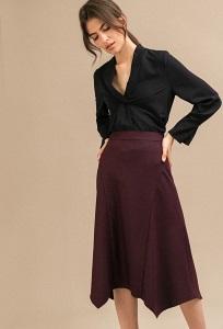 Бордовая юбка А-силуэта Emka S857/cario