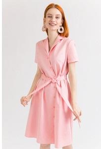 Платье светло-розового цвета с запахом Emka PL875/moshol