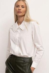 Однотонная рубашка молочного цвета Emka B2696/after