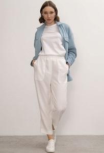 Зауженные брюки нежного молочного цвета Emka D183/rize