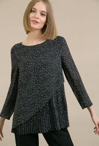 Черная блузка с принтом в белый горошек Emka B2470/karum