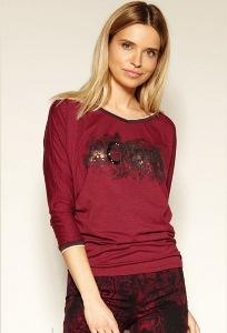 Бордовая блузка с V-вырезом Zaps Inca