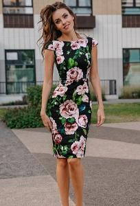 Платье-футляр с цветочным принтом Donna Saggia DSP-180-85