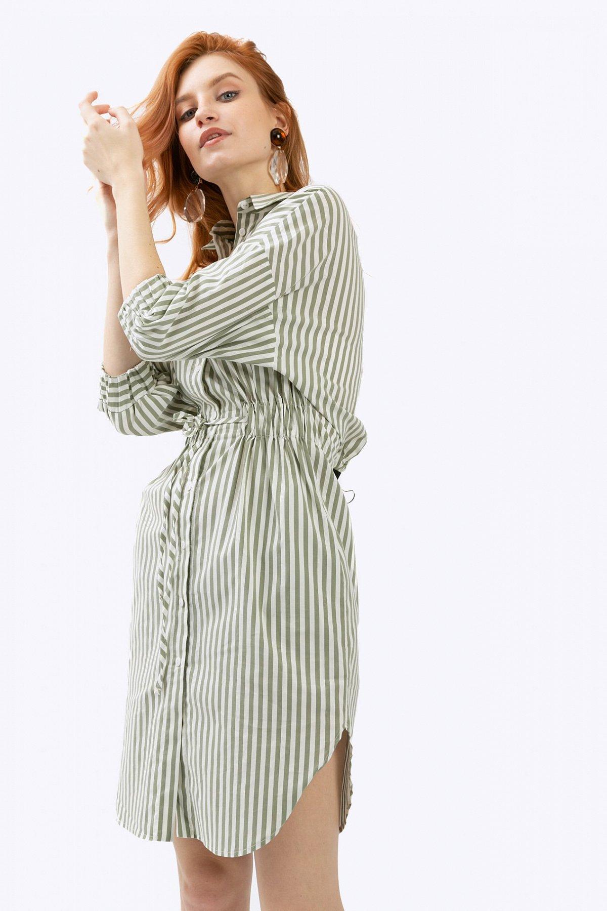 17fb10135fc Платье-рубашка в полоску с рукавами 3 4 Emka PL784 yikama