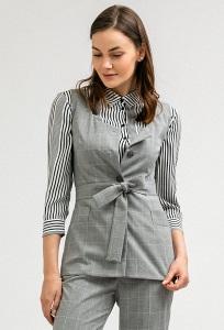 Блузка серого цвета в клетку без рукавов Emka B2400/anezka