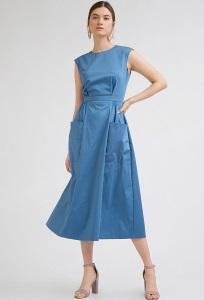 Платье-миди синего цвета без рукавов Emka PL613/neptune