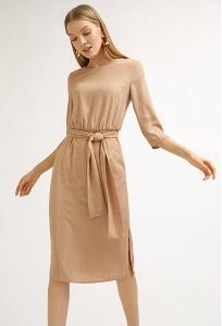 Платье-миди бежевого цвета в полоску Emka PL869/andrea