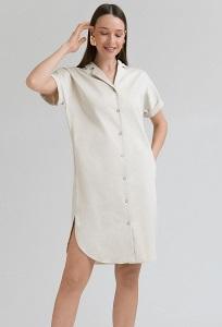 Платье бежевого цвета на пуговицах Emka PL770/mercury