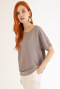 Блузка цвета мокко в полоску Emka B2462/lui