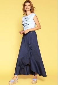 Длинная синяя юбка из трикотажа Zaps Halie