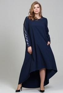 Длинное нарядное платье тёмно-синего цвета купить в интернет-магазине Donna Saggia DSP-307-57t