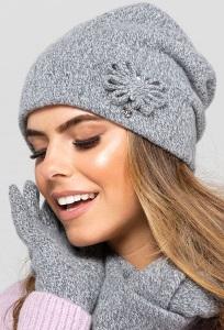 Светло-серая женская двойная шапка Kamea Kansas