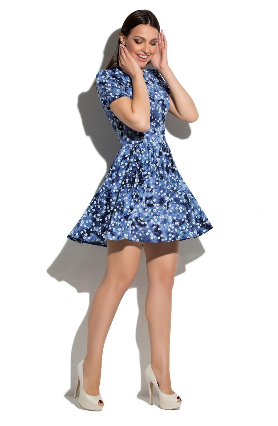 a77e490952a Купить синее короткое платье с цветами Donna Saggia DSP-65-51 в ...
