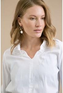 Белая блузка c V-образным вырезом горловины Emka B2333/ameliya