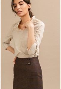 Коричневая юбка в клетку с декоративными пуговицами Emka S846/lisbon