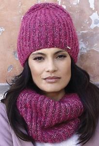 Женская малиновая шапка бини Kamea Alicante