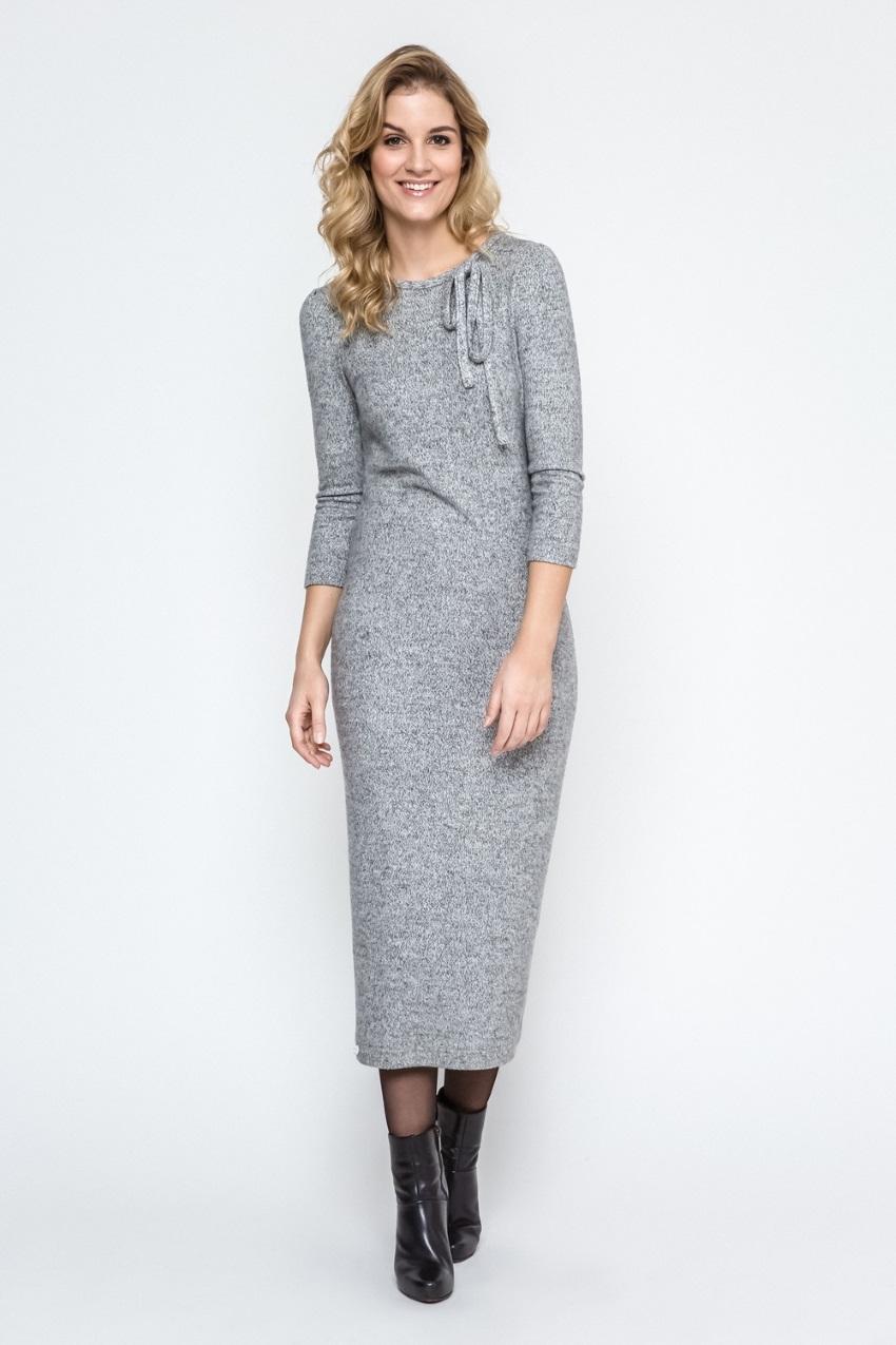 d2153c88b1b1ddc Длинное трикотажное платье серого цвета Enny 240082 купить в ...