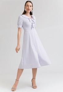 Платье нежно-сиреневого цвета в мелкую полоску Emka PL997/zhaklin