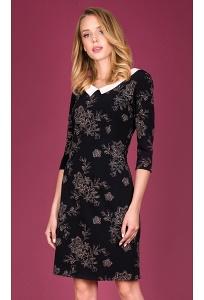 Черное платье из узорной ткани Zaps Carbonia