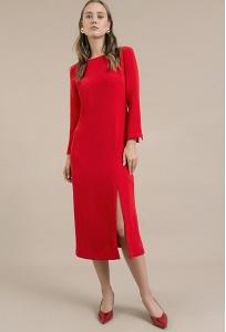 Платье красного цвета с разрезом Emka PL926/nagima