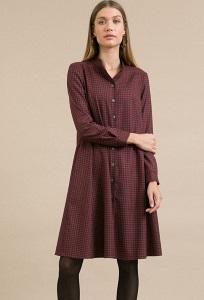 Красное платье в серую клетку Emka PL945/aires
