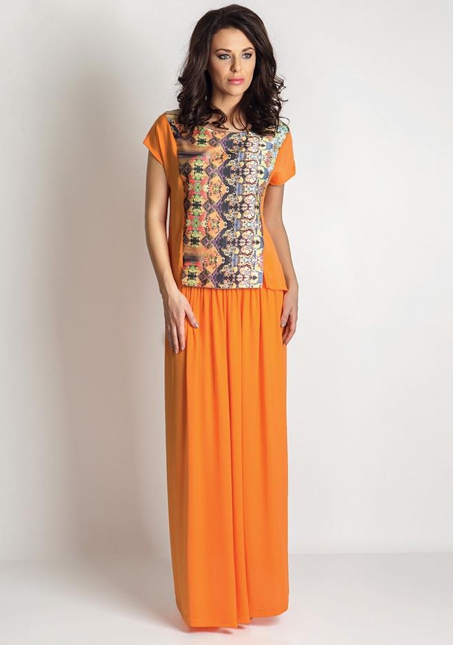 89768f083eb Костюм длинная оранжевая юбка и блузка TopDesign A6 145