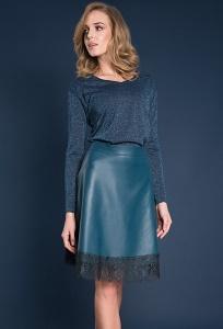 Изумрудная кожаная юбка с кружевом Zaps Azurra