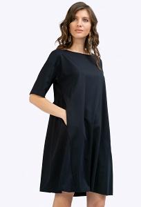 Тёмно-синее платье с рукавами до локтя Emka PL671/shelbi
