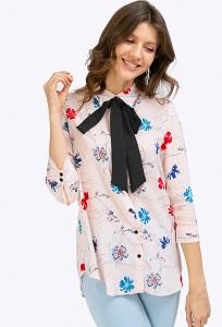 Блузка прямого кроя с цветочным орнаментом Emka B2376/andy