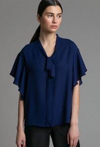 Темно-синяя блузка с воротником-бантом Emka B2516/beni