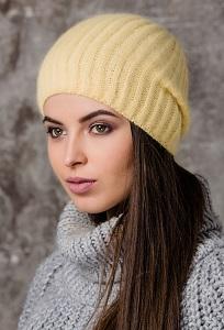 Жёлтая женская шапка из ангоры Gulyann Lone