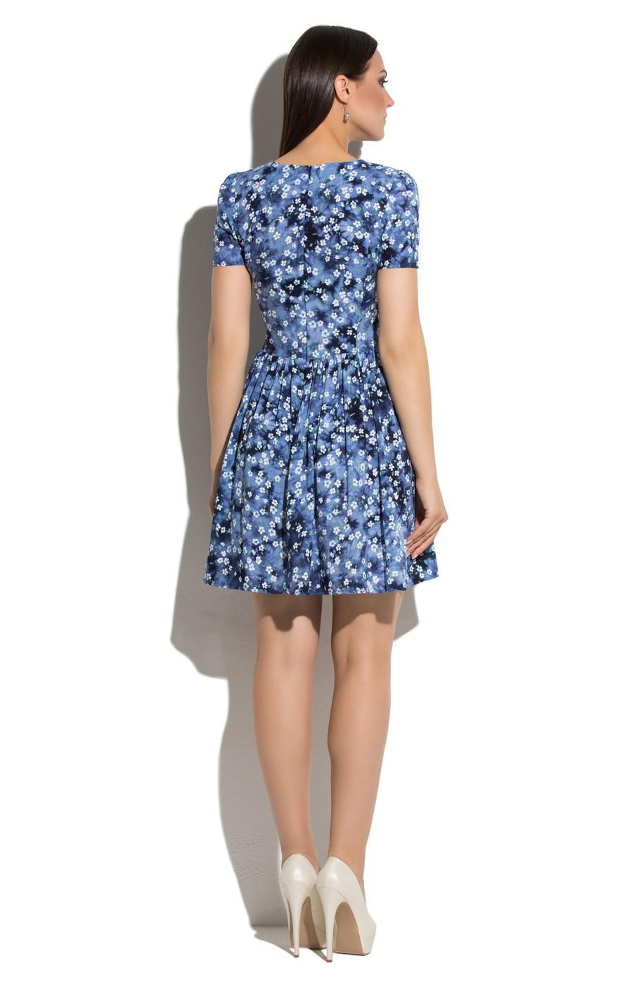 8a23473af7d Синее короткое платье с цветами Donna Saggia DSP-65-51. Увеличить. Чтобы  увеличить изображение