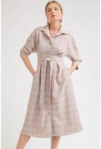 Летнее платье розового цвета в клетку Emka PL867/marbie