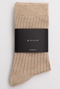 Однотонные бежевые носки в рубчик Emka V003/janik