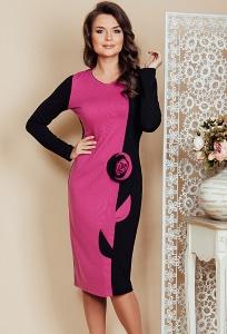 Чёрно-розовое платье TopDesign Premium PB6 09
