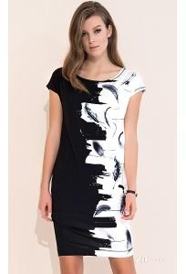 Летнее платье из чёрно-белого трикотажа Zaps Dione