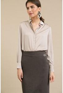 Зауженная классическая юбка коричневого цвета Emka S809/pati