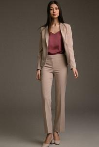 Женские прямые брюки бежевого цвета Emka D163/florist