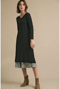 Простое черное трикотажное платье-миди Emka PL993/pantera