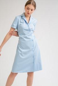 Платье голубого цвета с запахом Emka PL875/hilda