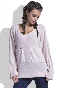 Женский свитер розового цвета Fobya F439