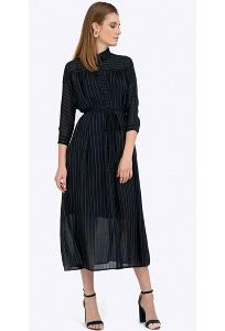 Лёгкое темно-синее платье макси в полоску Emka PL887/kantemira