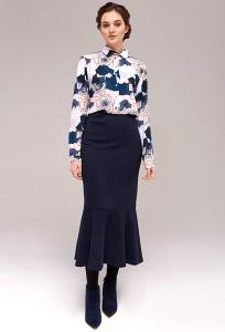 Тёмно-синяя трикотажная юбка-годе TopDesign B7 167