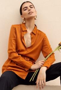 Горчичная блузка с поясом Emka B2465/orientale
