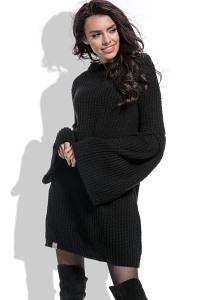 Чёрное платье крупной вязки с широким рукавом Fobya F470