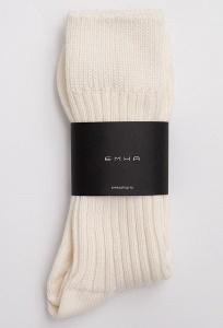 Высокие носки в рубчик молочного оттенка Emka V002/timan