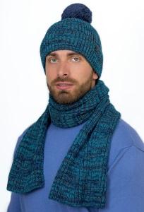 Мужской комплект шапка с помпоном + шарф Landre Альберто