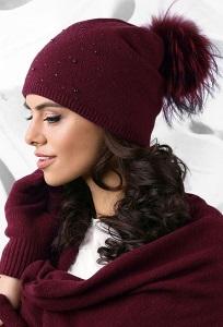 Двойная шапка бордового цвета Kamea Artemisa
