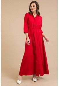 Длинное платье-рубашка красного цвета Emka PL596/picasso