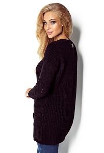 Чёрный удлиненный свитер Fimfi I301